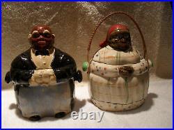 Black Americana 1930's Pair of Biscuit Cookie Jars