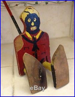Black Americana Antique Primative Folk Art Wooden Walker Puppet Doll Toy