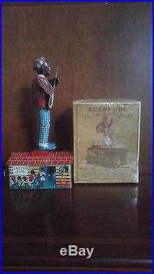 Black Americana Antique Tin Wnd Up Jazzbo Jim the Dancer on the Roof With Box
