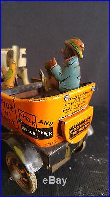 Black Americana Antique Tin Wnd Up Toy Marx Amos and Andy Fresh Air Taxi