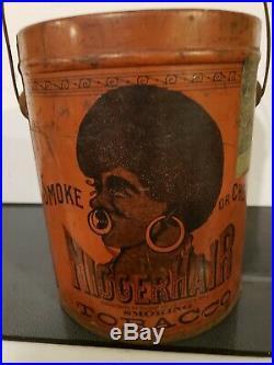 Black Americana Bigger N Hair Tobacco Can B. Leidersdorf Co, Tin Pail