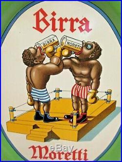 Black Americana Boxing sport litho BIRRA Moretti Beer tray Udine Italy 1930s