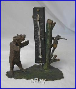 Black Americana Boy and Bear Heyde Germany c1900 Rare Hunting Thermometer