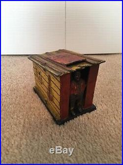 Black Americana Cast Iron Cabin Mechanical Bank J & E Stevens c 1885