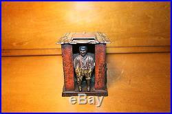Black Americana Cast Iron Cabin Mechanical Bank J & E Stevens c 1885 Victorian
