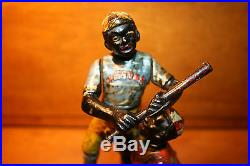 Black Americana Cast Iron Dark Town Battery Mechanical Bank J & E Stevens c 1888