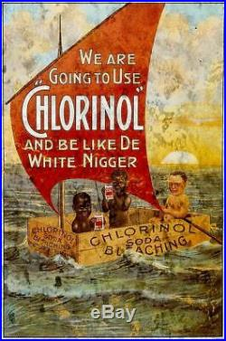 Black Americana Chlorinol Soda Bleaching Heavy Duty USA Made Metal Adv Sign