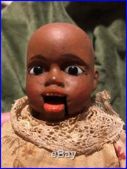 Black Americana Cloth & Composition Vintage 12 Doll Glass Eyes Movable Mouth