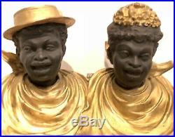 Black Americana Double Inkwellman & Womanfiguralmetalincrediblesuper Rare