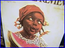 Black Americana Girl Eating Watermelon Home Decor Sign Vintage Look