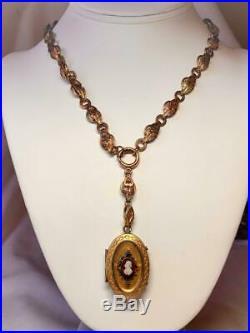 Black Americana Hardstone Cameo Locket Heart Necklace Antique Book Chain c1860