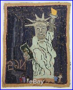 Black Americana Hooked Rug Nancy Gertrude Scott Ngs Signed Folk Outsider Art