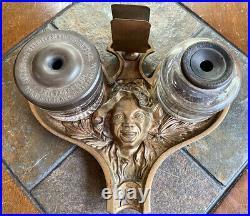 Black Americana Johnny Griffin Bronze Antique Inkwell Desk Set Smoking Stand