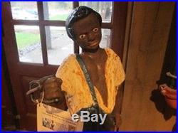 Black Americana Lawn Jockey Groom Hitching Post Statue Cast Iron 43 Tall