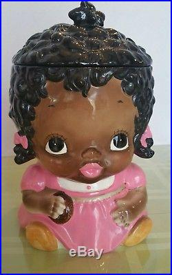 Black Americana Little Girl Cookie Jar Pink Dress Ca. 1978 Made for Sears Japan