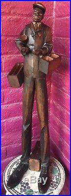 Black Americana Musical Smoking Stand Nodder Wood Carved Antique Cigar Butler