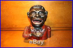 Black Americana Painted Cast Iron JOLLY N Mechanical Bank John Harper c 1890, s