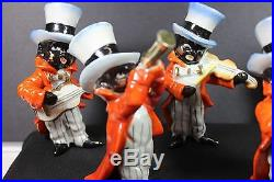 Black Americana Porcelain JAZZ BAND Figures Playing Instruments-Top Hats & Tails
