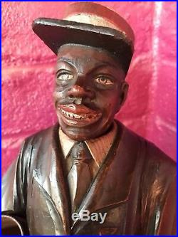 Black Americana Porter Musical Smoking Stand Wood Carved Antique Cigar Butler