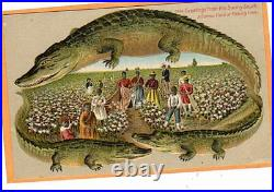 Black Americana Postcard Langsdorf Alligator Border Cotton Field #655