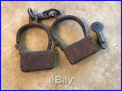 Black Americana Pre CIVIL War Style Iron Turn Key Handcuffs Woman Or Child Size