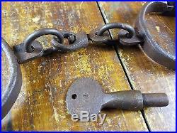 Black Americana Pre CIVIL War Style Woman Or Child Size Iron Handcuffs Turn Key
