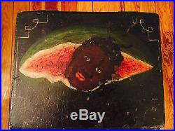 Black Americana Primitive Wooden Box Chest Hand painted 19th Century Folk