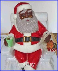 Black Americana Santa Sitting in Chair Cookie Jar by Artist Carol Gifford