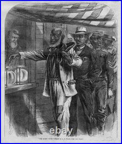 Black Americana The First Vote Man Voting Freedmen Reconstruction 1867 History