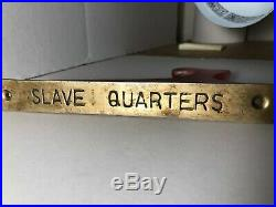 Black Americana Vintage Brass Slave Quarters Sign Collectible