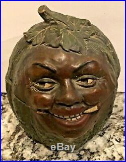 Black Americana Watermelonsmiling Black Mans Facejmterra Cotta Tobacco Jar