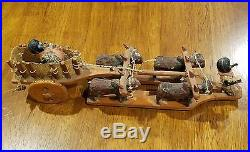 Black Americana rare wooden oxcart toy with Celluloid figures 1920s