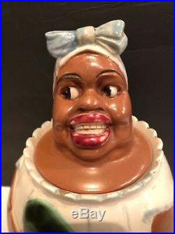 Black Americanaweller Potterywoman/ Watermelon Cookie Jarextremely Rare