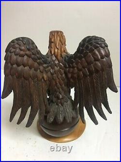 Black Forest European Wood Carved Eagle On Sphere