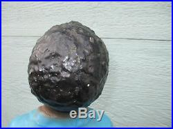 Black Lawn Jockey Boy Fishing on tree Stump Vintage Cement 28 lbs ORIGINAL PAINT