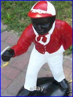 Black Lawn Jockey Statue Historical. Cement. Trumps Fav From Vintage Mold