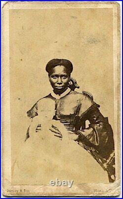 Black Nanny in Nice Dress Holding White Baby 1860s Civil War Era CDV Photo