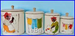 Black Women Americana Memorabilia Vintage Canister Set Laundry Day Handpainted