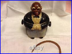 Black americana Japan Butler with basket cookie jar