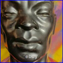Blackamoor Black Americana Art TV Lamp MCM 1950 VTG Nubian Male King Statue Bust
