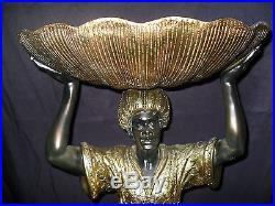 Blackamoor Statue Standing with Shell Black Americana