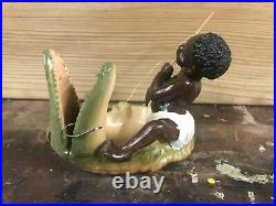 Boy Fishing Alligator Black Americana Dish Bowl Decoration