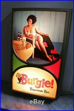 Burgie Burgermeister Black Americana 1970s Lighted Beer Sign New Old Stock