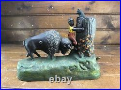 Butting Buffalo Cast Iron Mechanical BANK Vintage Black Americana Antique Bull