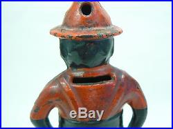 C 1894 Black AmericanaGive Me A Penny Cast Iron Turn Pin Still Bank Wing MFG