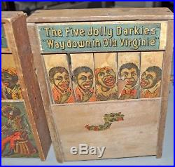 C1890's (2) two REED FIVE JOLLY DARKIES CRANK TOY's game Black Americana lot