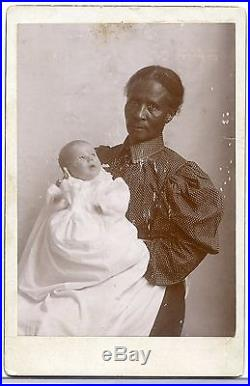 CABINET PHOTOGRAPH AFRICAN AMERICAN BLACK LADY HOLDING WHITE BABY