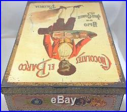 CHOCOLATES EL BARCO RARE LARGE CANDY TIN SPAIN c1905 BLACK AMERICANA