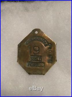 CIVIL War Slave Charlotte Hire Tag Copper 1856 19