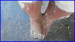 CLASSIC ORIGINAL BLACK AMERICANA CONCRETE FISHING BOY STATUE with ORIGINAL STOOL
